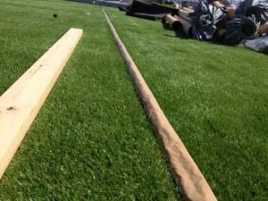 人工芝の施工現場