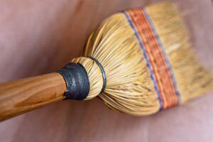 人工芝の掃除_掃き掃除